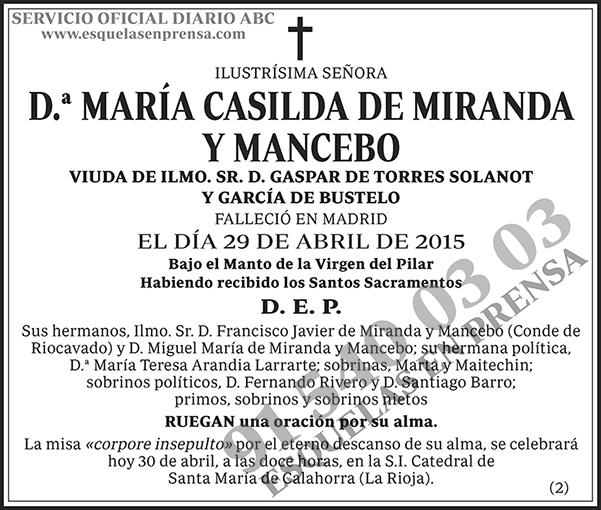 María Casilda de Miranda y Mancebo